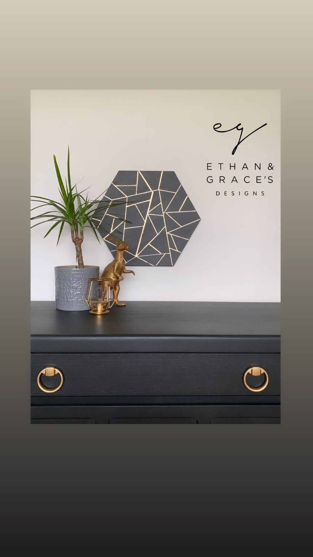 Image of Dark grey and gold leaf canvas designed by Ethan & Graces