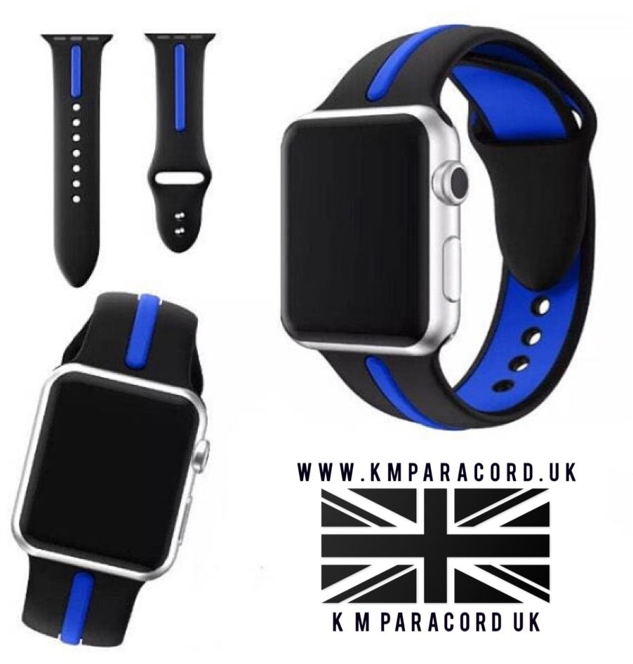 Image of KMP 'Thin Blue Line' Apple Watch Sports Strap