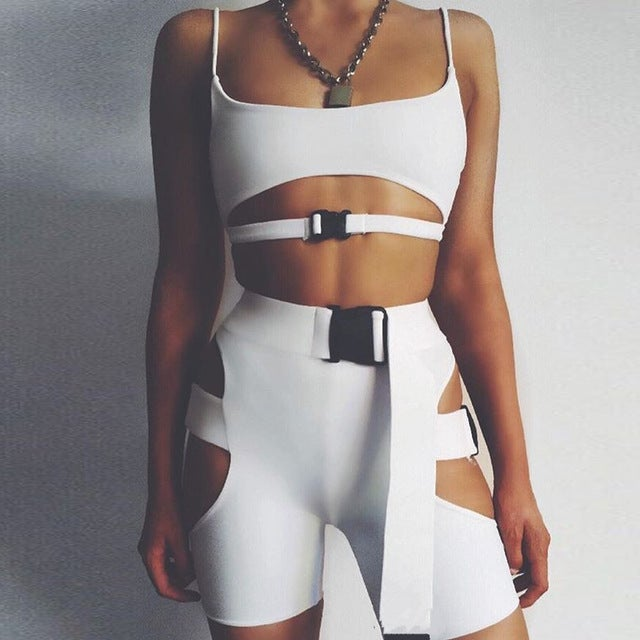 Image of GLAMOURFOXX LUXE Cut out buckle strap jumpsuit