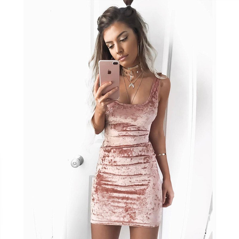 Image of Pink crushed velvet mini dress