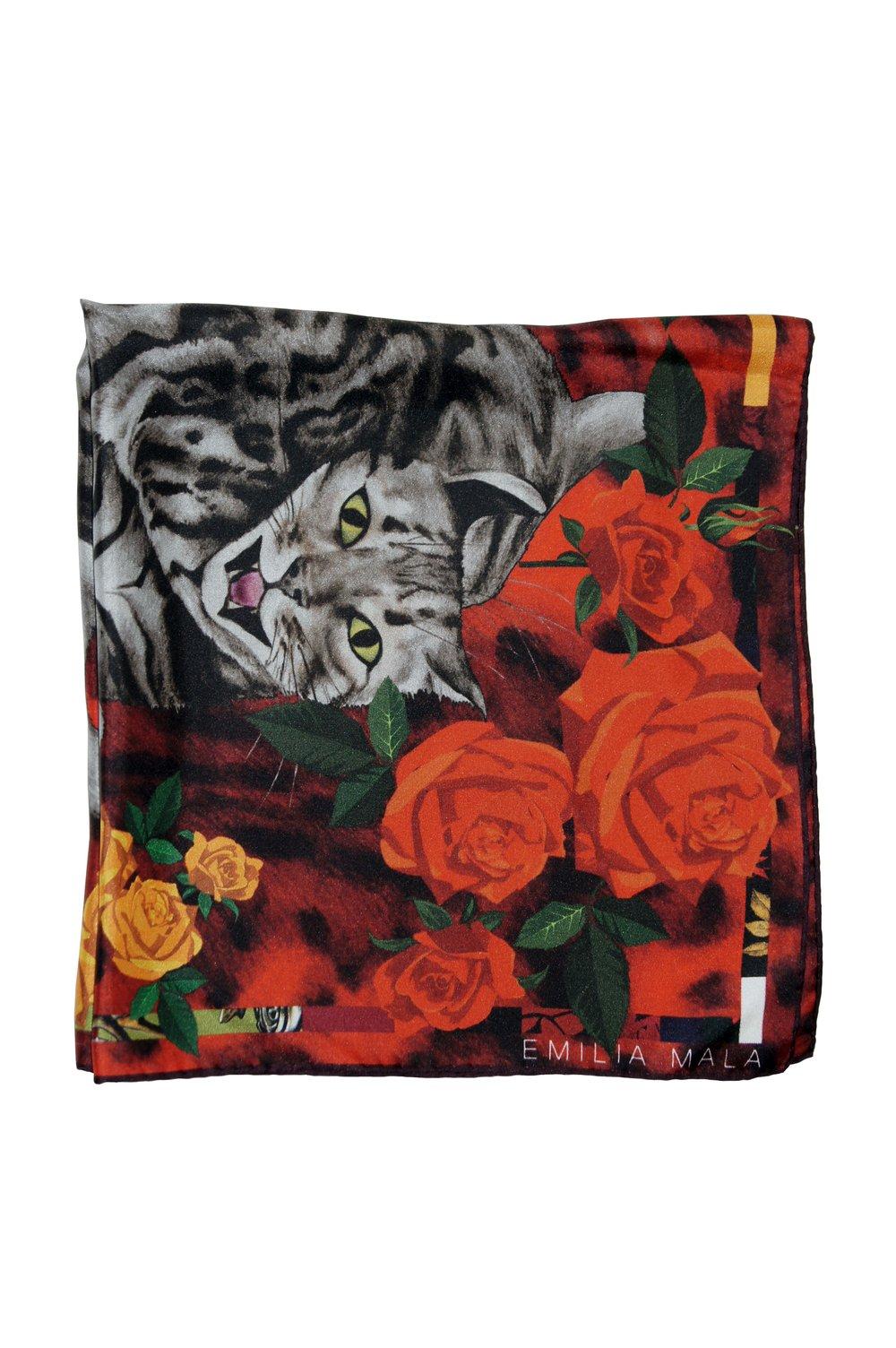 Image of Bengal Rose Silk Scarf / Red