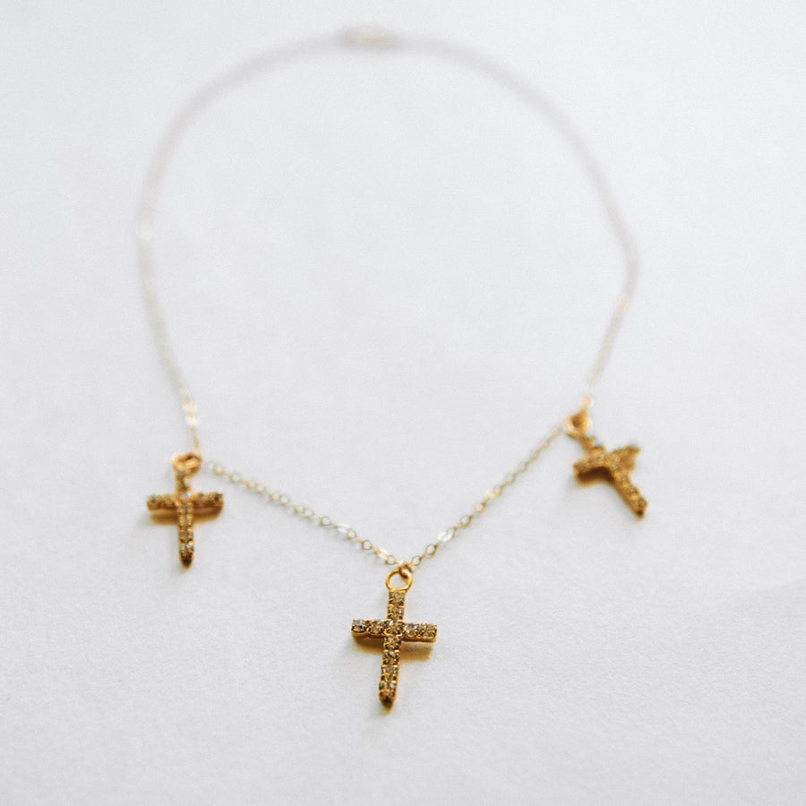Image of The Triple CZ Cross Choker