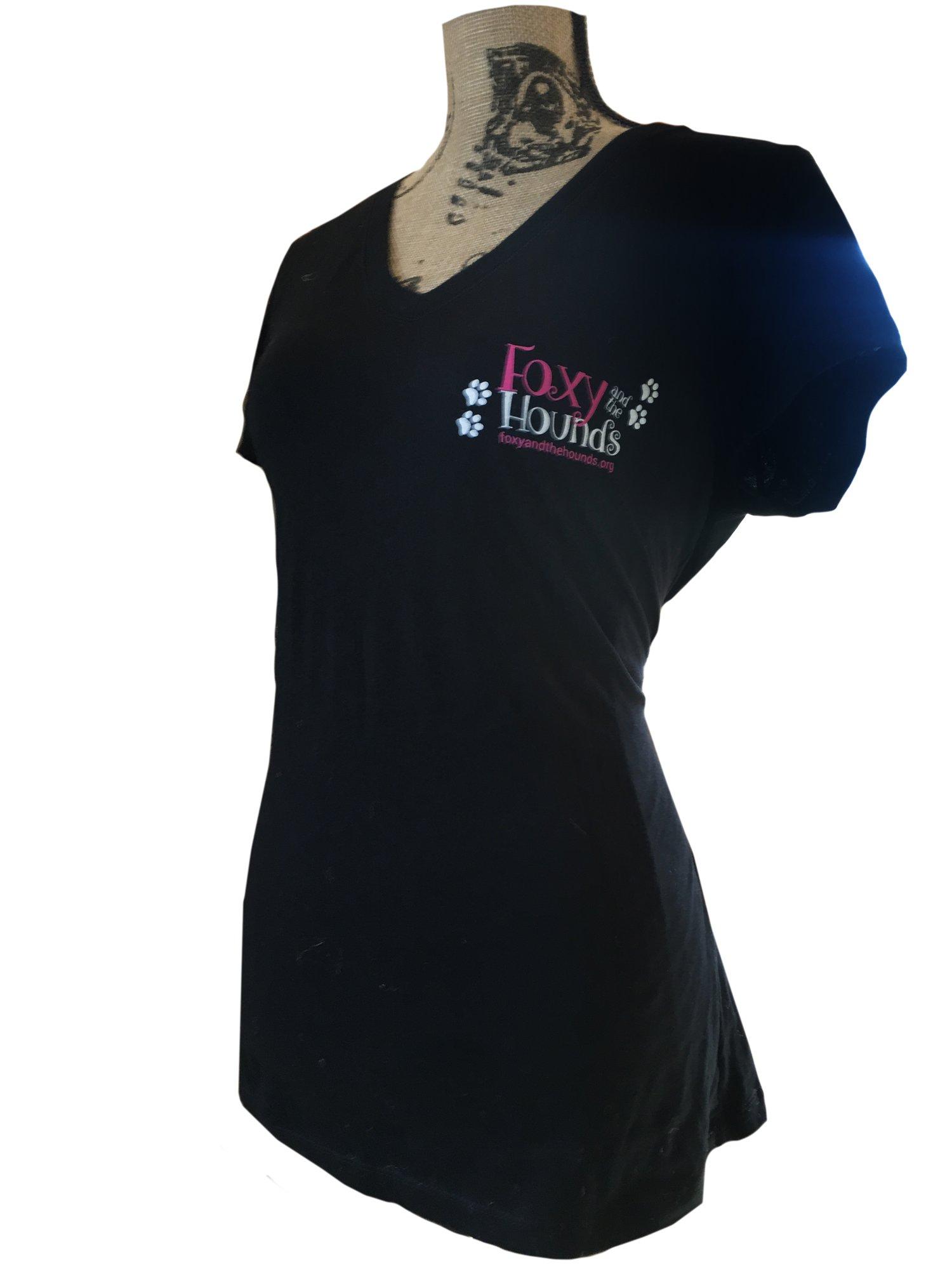 Image of Women's Short Sleeve V-Neck T-Shirt - Black