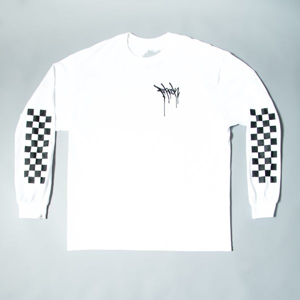 Image of Checkered Long Sleeve F-Rock Drip Tee - White/Black