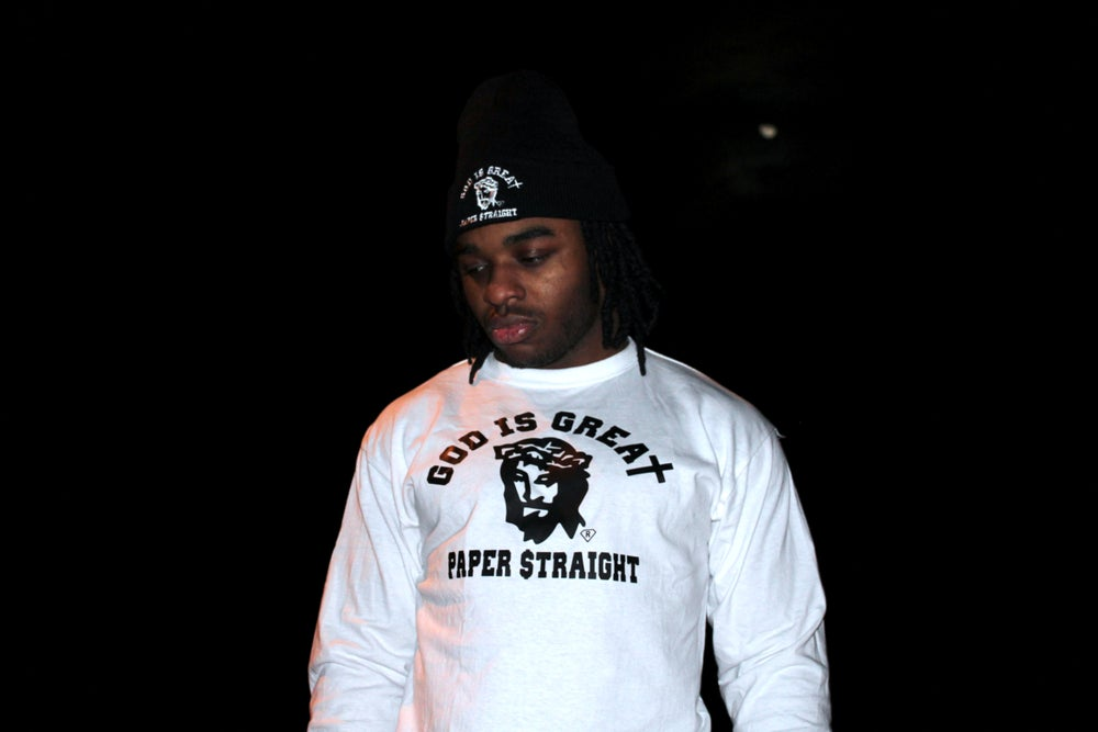 Image of LONG SLEEVE GOD IS GREAT PAPER STRAIGHT BIG FACED WHITE LOGO TEE
