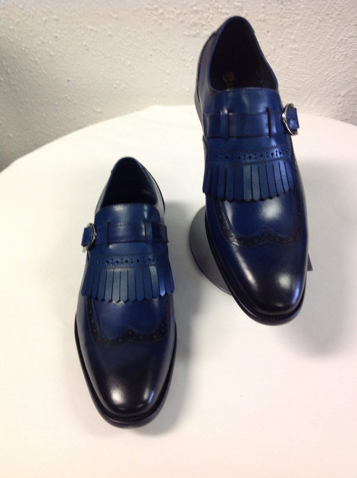 Image of BLUE - CARRUCCI CALFSKIN MONKSTRAP SHOE WITH REMOVABLE KILTIE