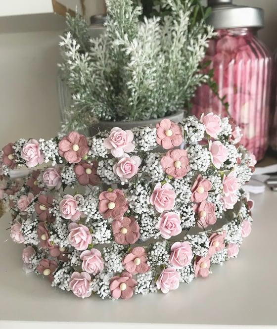 Image of Halo rose vieu rose et blanc