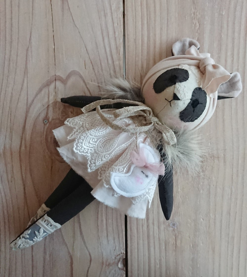 Image of Panda with pink dress and moon - made to order