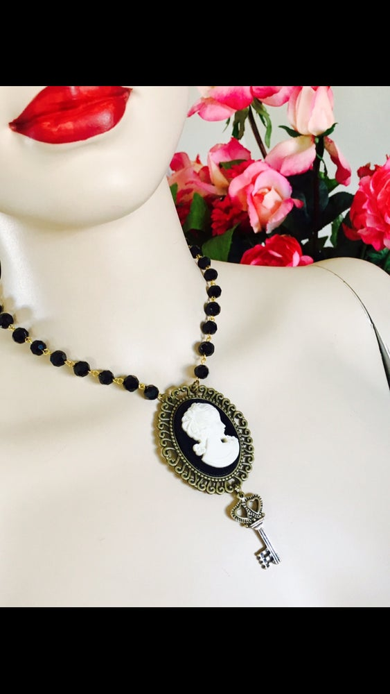Image of Neo Victorian Style Cameo on Velvet Necklace