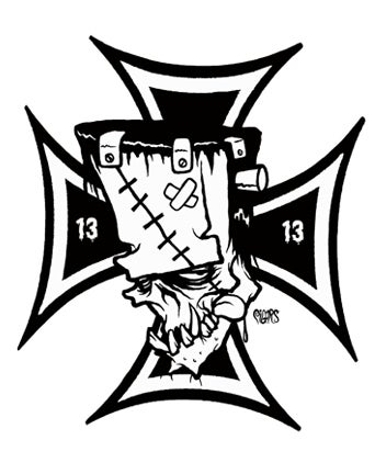 Image of IRON CROSS FRNKENSTEIN - STICKER