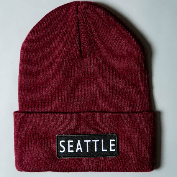 Image of F-Rock Seattle Beanies - Maroon/White