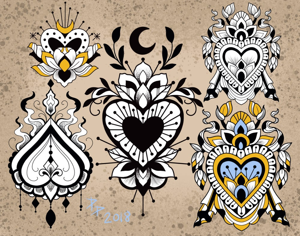 Image of Hearts tattoo flash sheet