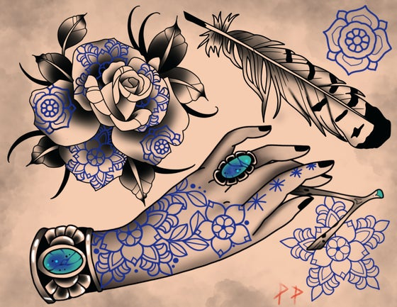 Image of Hand tattoo flash sheet