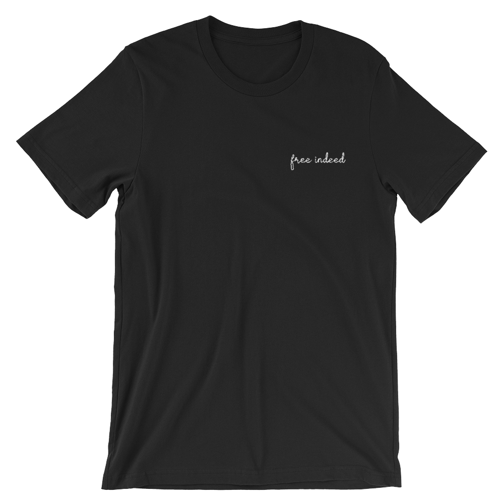 Image of Free Indeed Embroidered Tee - Black