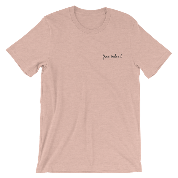 Image of Free Indeed Embroidered Tee - Blush
