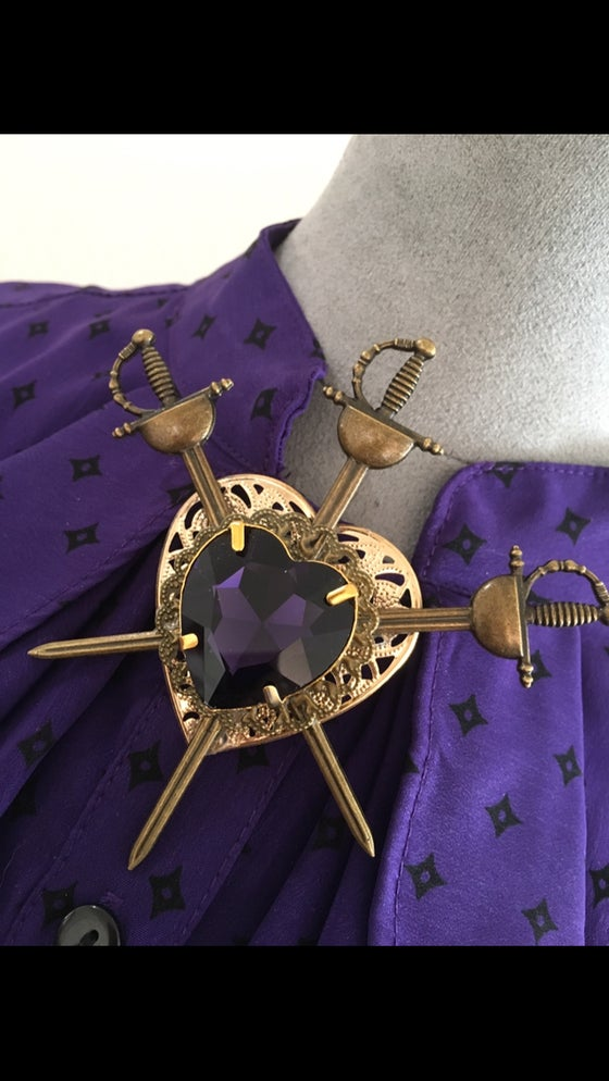 Image of Neo Victorian 3 Of Swords Tarot Card Brooch With Purple Heart Rhinestone