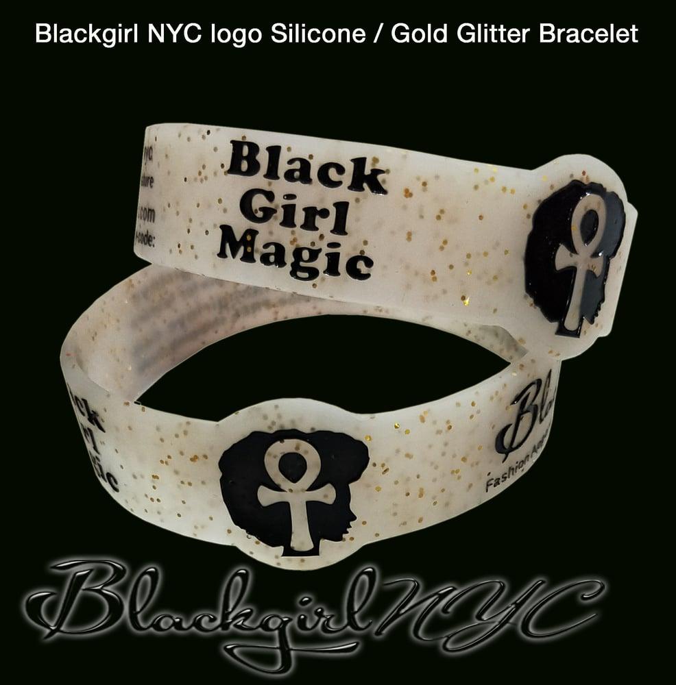 Image of Ankh logo Silicone Gold Glitter Wristband Bracelet