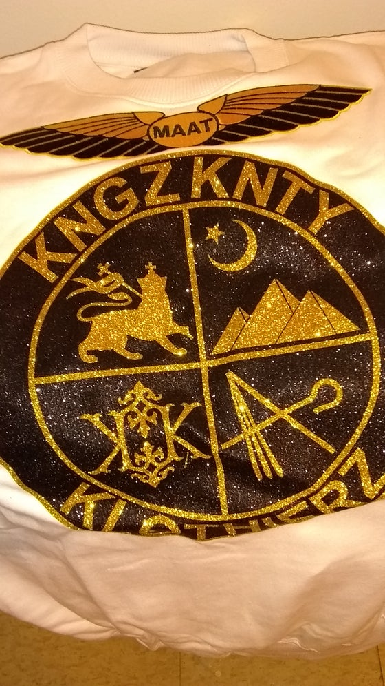 "Image of KNGZKNTY ""COAT OF ARMS"" MAAT SWEAT SHIRT"