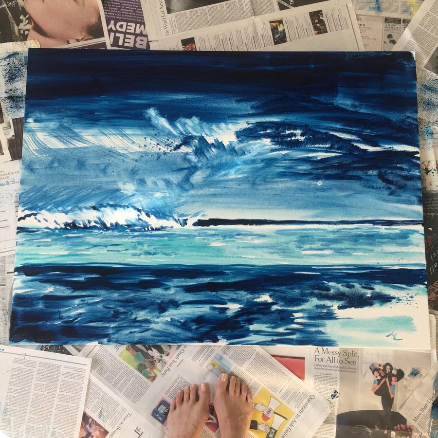 "Image of Stormy Blue Umbrella Beach 30""x40"""