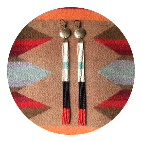 Image of Mint, black, bone, and red dome top fringe earrings