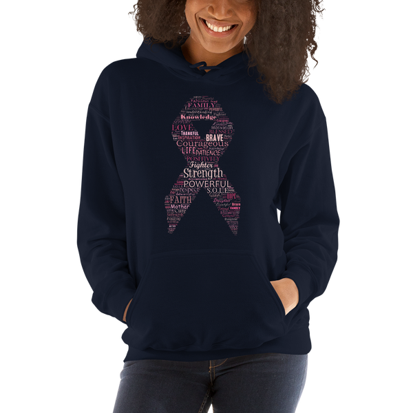 Image of Pink Ribbon Breast Cancer Hoodie in Black, Charcoal, Navy, Grey or White