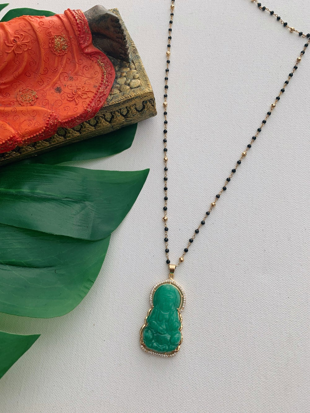 Image of KIN • Green Jade Buddha Necklace