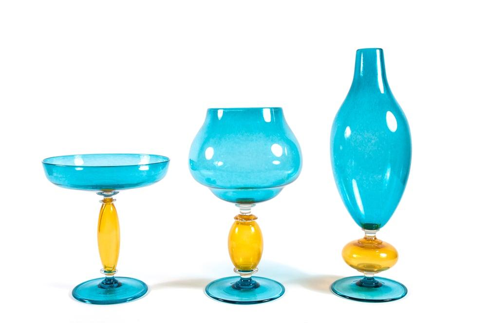 Image of 1-2-or-3 Large Stemware Vessels, use as Vase, Vessel, Bowl
