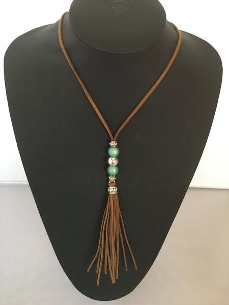 Image of Long Leather Tassel Necklace