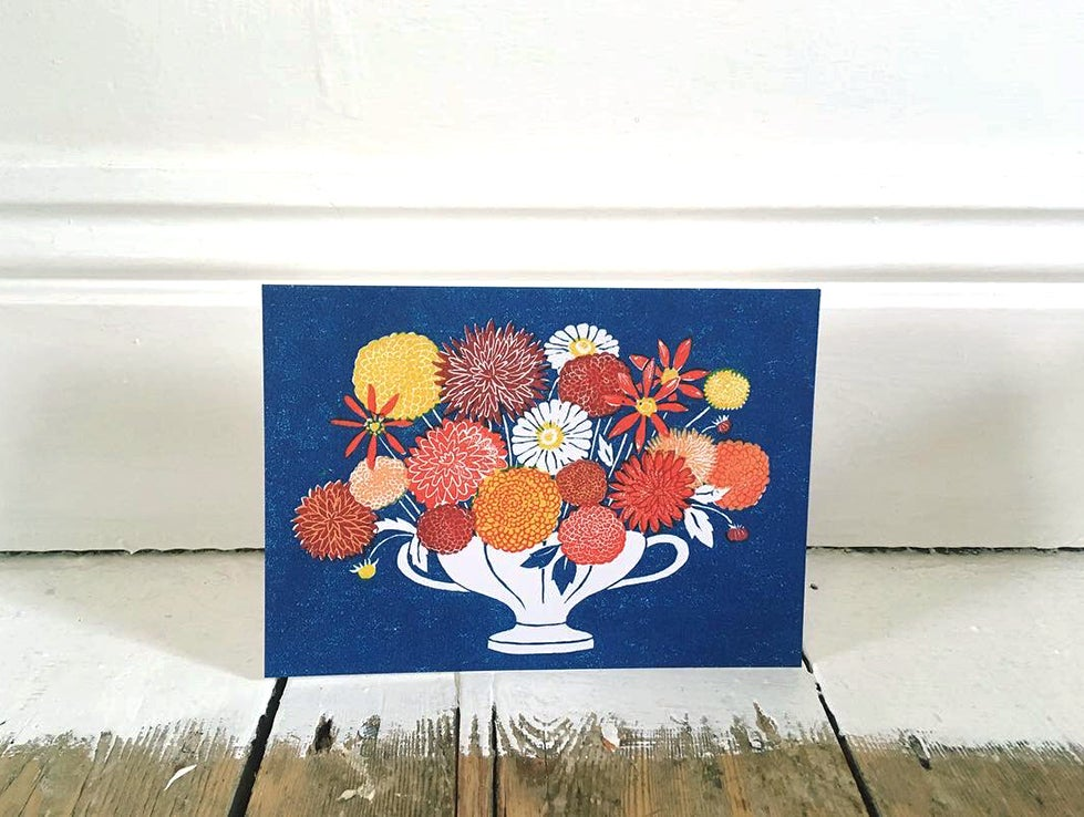 Image of Dahlias - Greetings Card