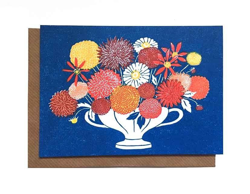 Image of Dahlias - Greetings Card