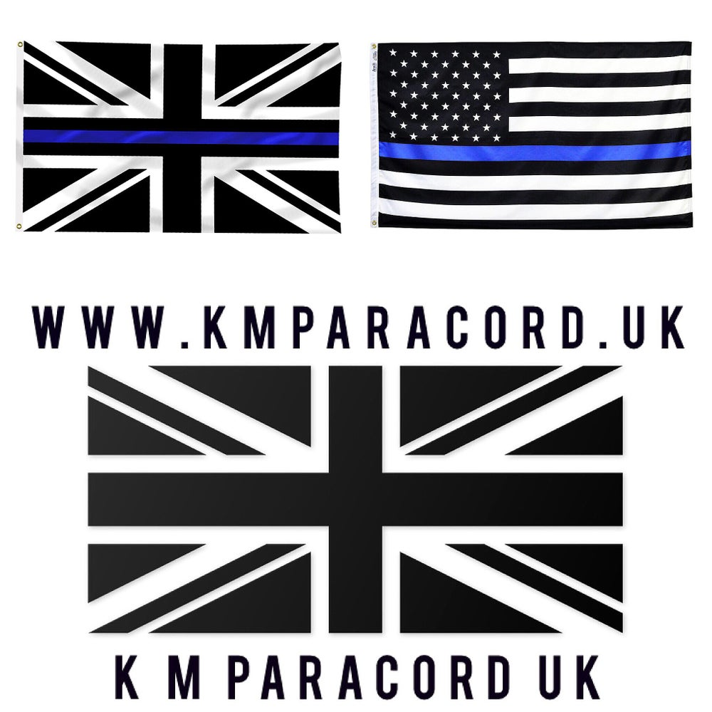 Image of THIN BLUE LINE FLAG (5ftx3ft) UK/USA