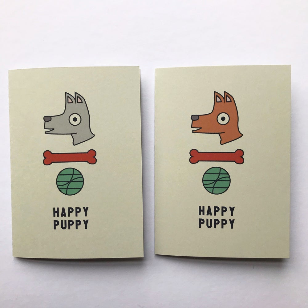 Image of HAPPY PUPPY GREETINGS CARD BY fingsMCR