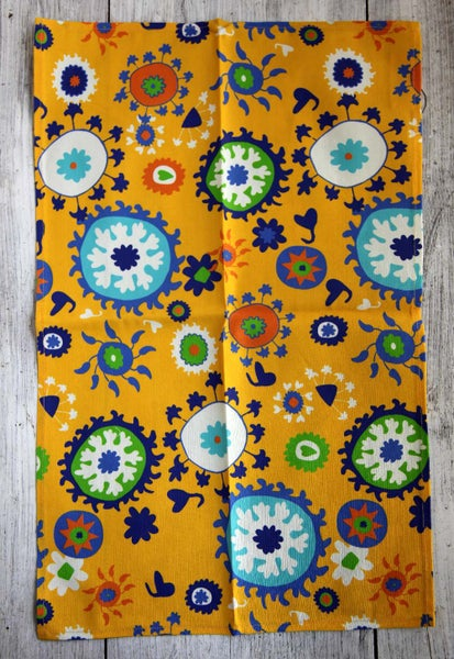 Image of Bright Yellow Mod Suzani Tea Towel - FREE SHIPPING
