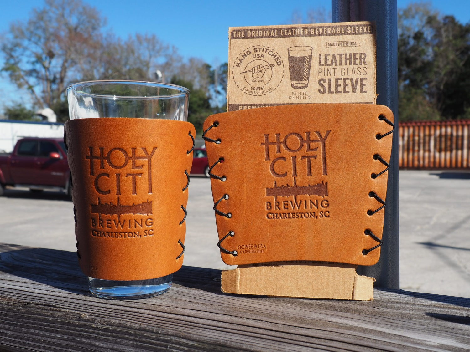 Leather Pint Glass Koozie