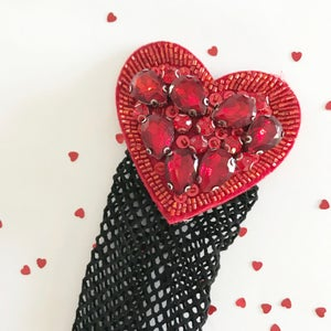 Image of Red Heart Beaded Fishnet Socks