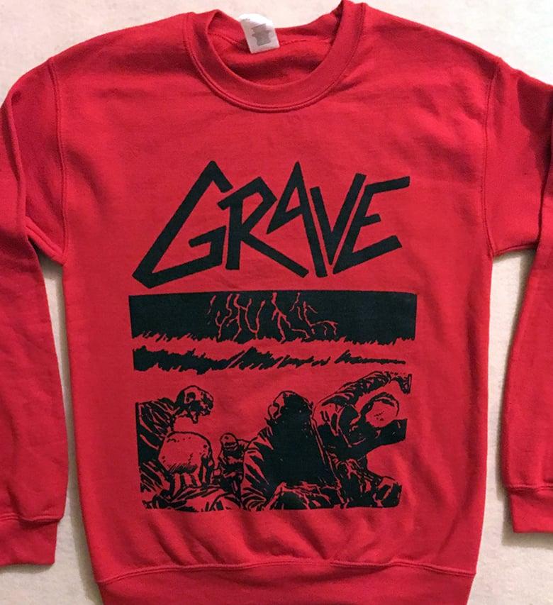 """Image of Grave """"Sick Disgust Eternal """"  Red Sweatshirt"""