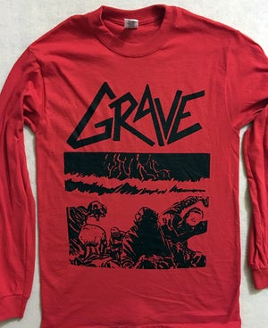 "Image of Grave "" Sick Disgust Eternal "" Red Long Sleeve T shirt"