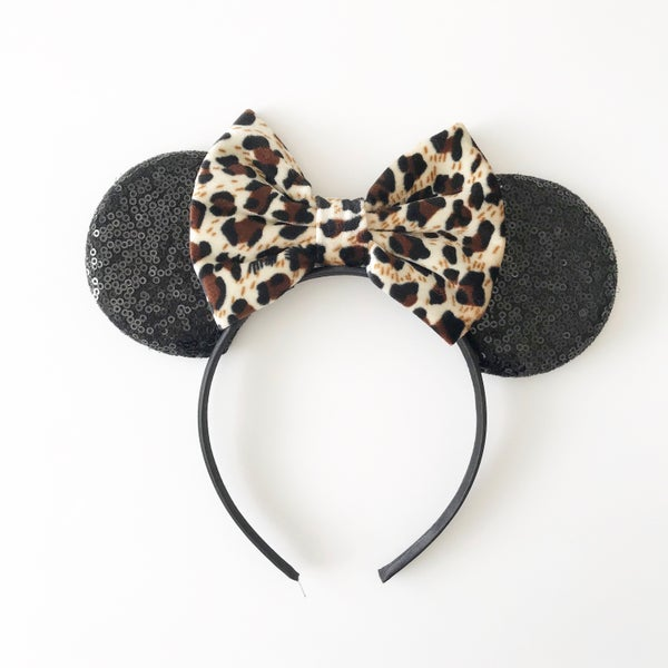 Image of Black Mouse Ears with Leopard Velvet Bow
