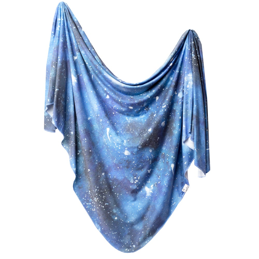 Image of Knit swaddle blanket - Galaxy