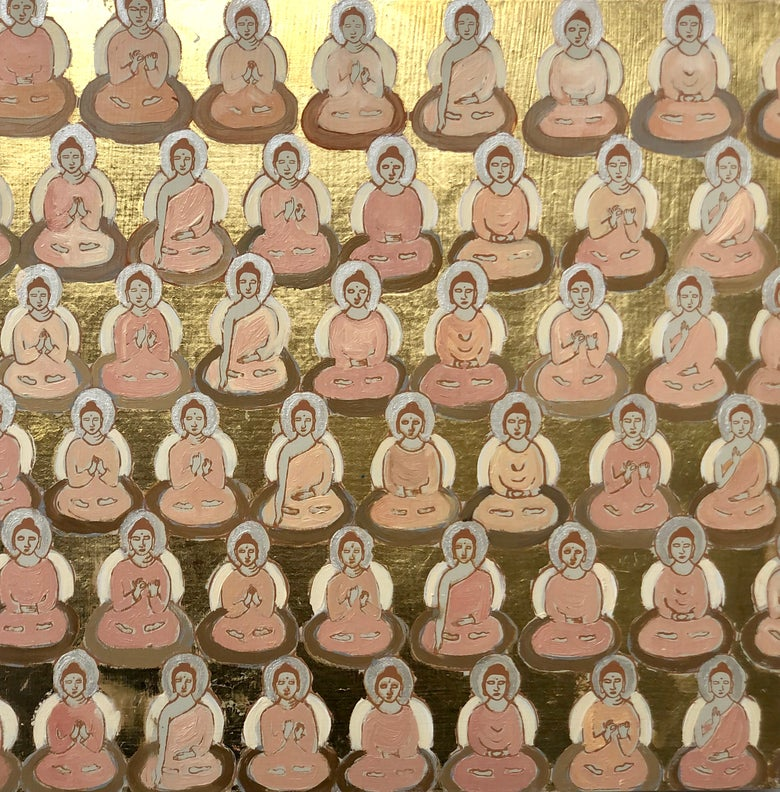 Image of Tiny Pale Pink and Gold Buddhas
