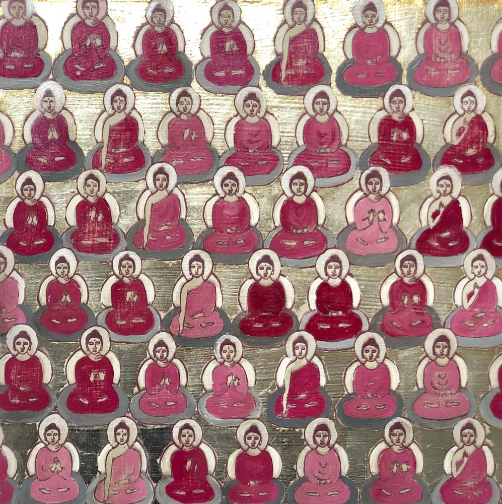 Image of Tiny Pink and Silver Buddhas