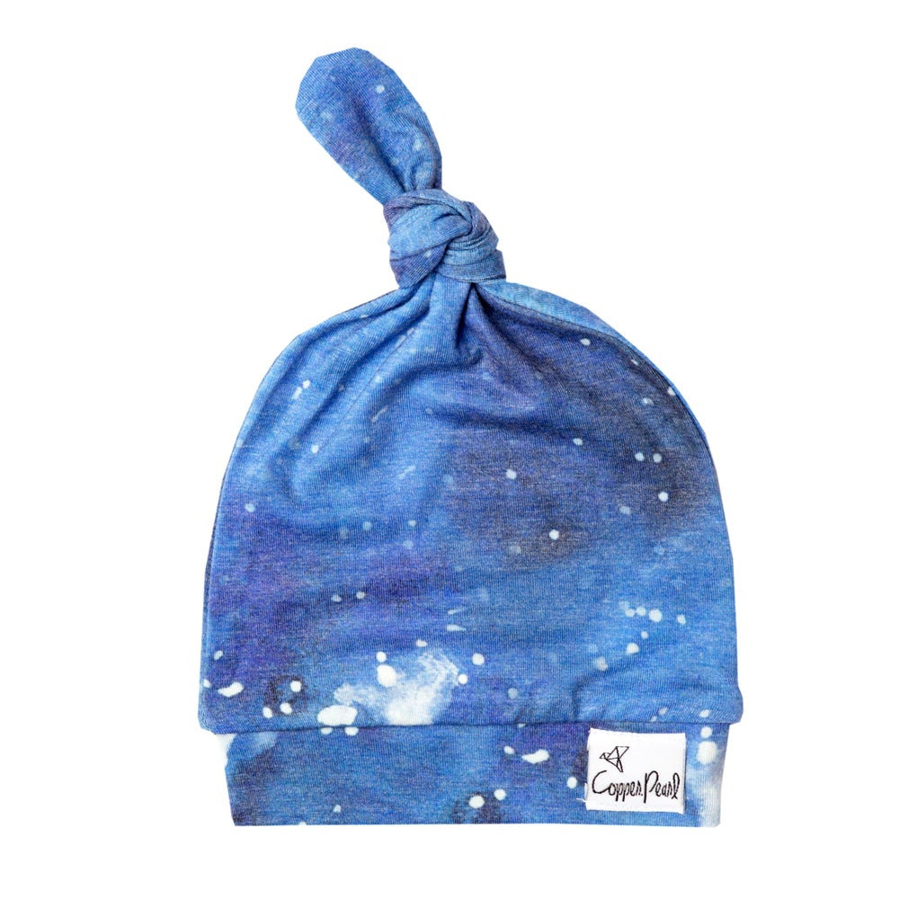 Image of Newborn Top Knot Hat- Galaxy