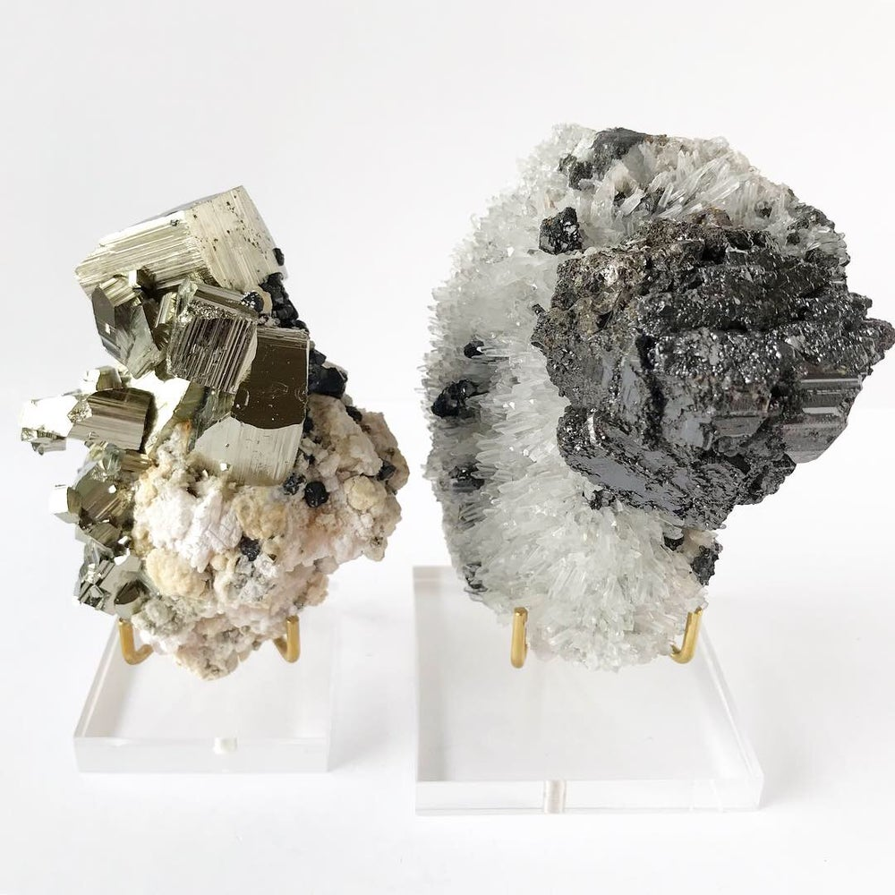 Image of Pyrite/Sphalerite/Pink Mangano Calcite no.03 Stardust Collection Lucite Pairing