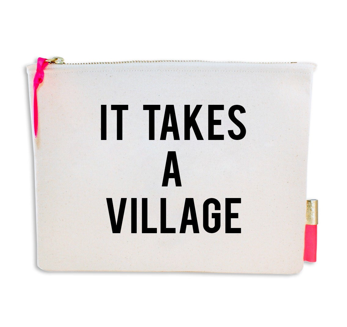 Image of PIPI CUCU CANVAS CLUTCH- IT TAKES A VILLAGE