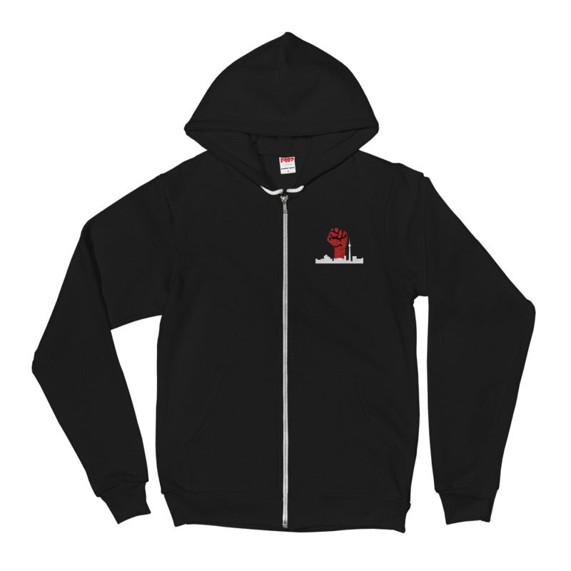 Image of No Shelter Embroided Fist Zip Hoodie