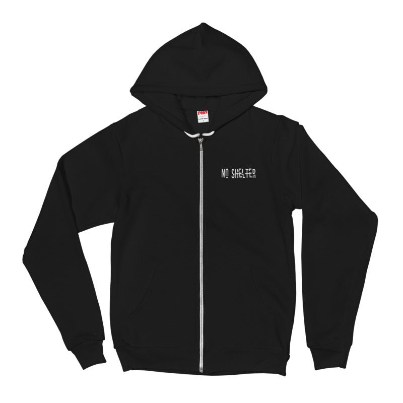 Image of No Shelter Embroided Logo Zip Up Hoodie