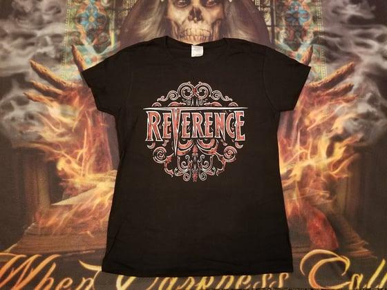 Image of Ladies Reverence Red Swirl Logo Shirt