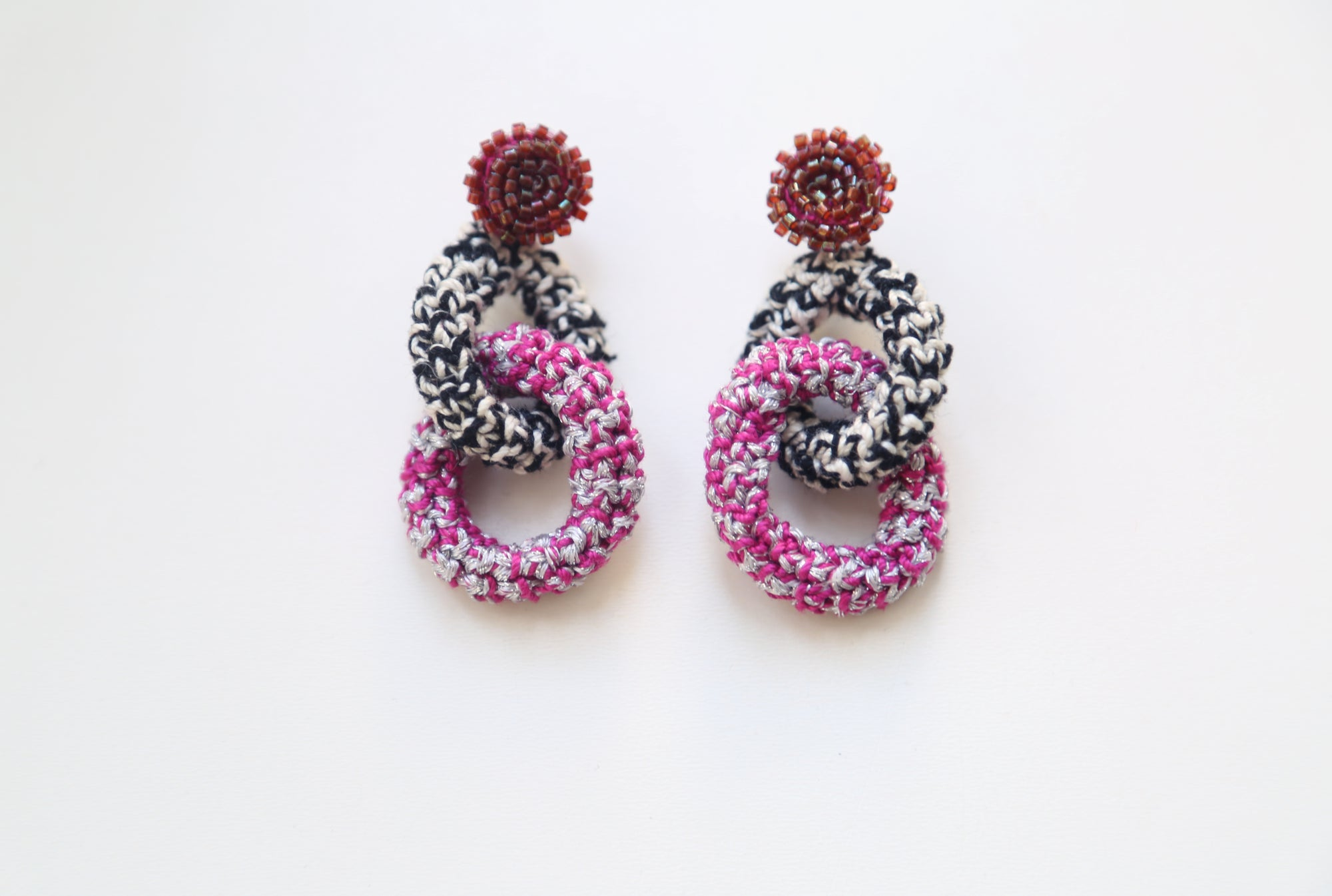 Image of Magenta Bonded Together earrings (double chain)