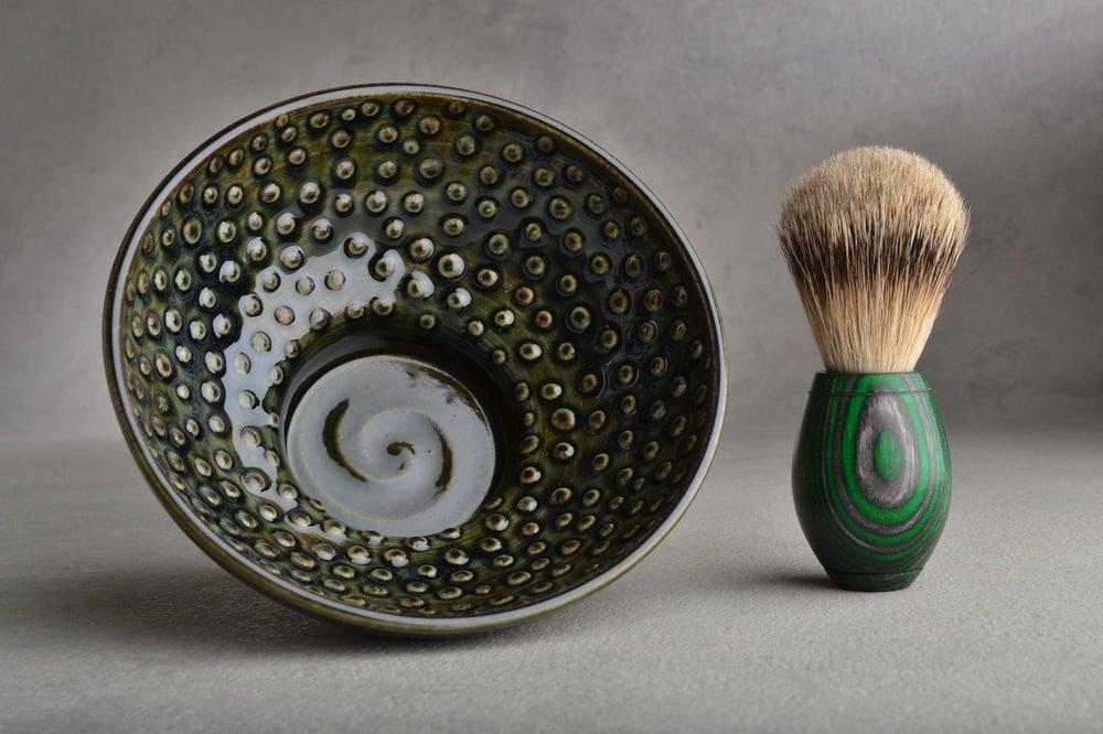 Image of Dark Green and Brown Dottie Shaving Bowl