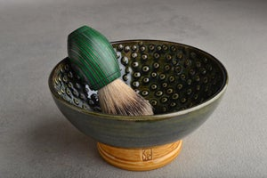 Image of Dark Green and Brown Dottie Shaving Bowl